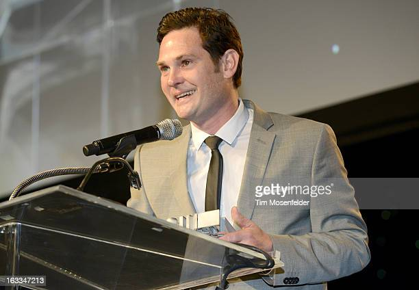Henry Thomas accepts an award at the Texas Film Hall of Fame Awards at Austin Studios on March 7 2013 in Austin Texas