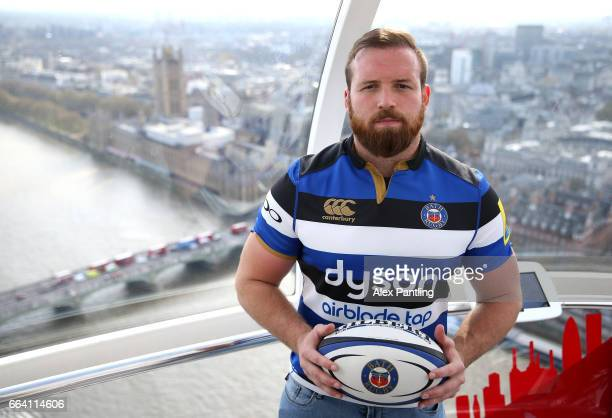 Henry Thomas of Bath Rugby poses for photos during a Aviva Premiership Rugby Photocall ahead of the matches to be played at Wembley Stadium and...