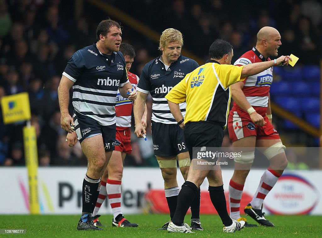 Henry Thomas of Sale is sent to the sin bin during the AVIVA Premiership match between Sale Sharks and Gloucester at Edgeley Park on October 8, 2011 in Stockport, England.