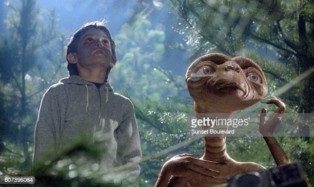 "Henry Thomas on the set of ""E.T.""."