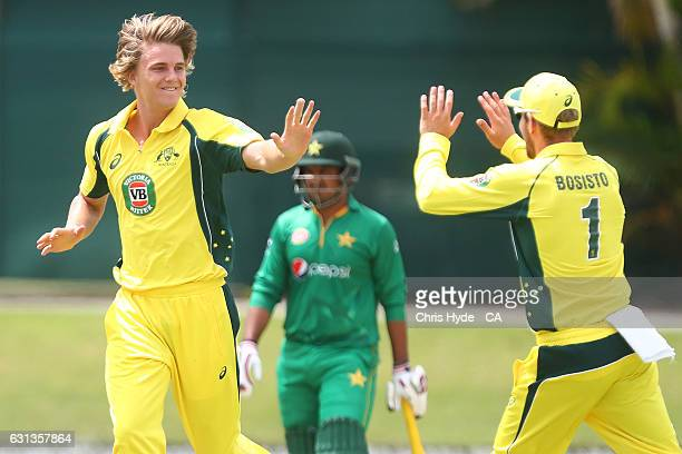 Henry Thornton of the CA XI celebrates after dismissing Asad Shafiq of Pakistan during the tour match between Pakistan and the CA XI at Allan Border...