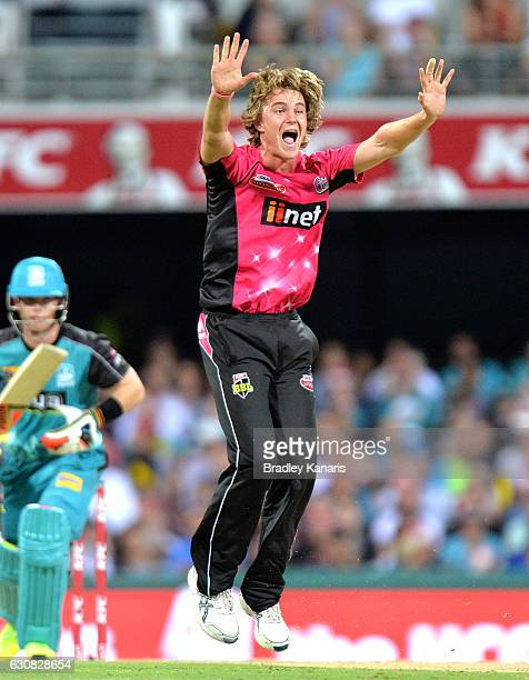 Henry Thornton of the Sixers celebrates taking the wicket of Jimmy Peirson of the Heat during the Big Bash League match between the Brisbane Heat and...