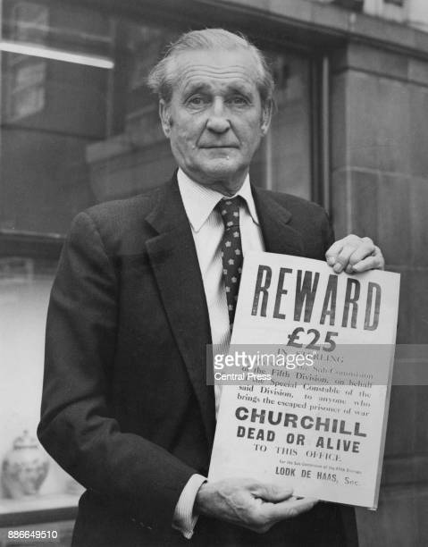 Henry Thynne 6th Marquess of Bath with a rare Englishlanguage poster offering £25 for the capture of wartime British Prime Minister Winston Churchill...