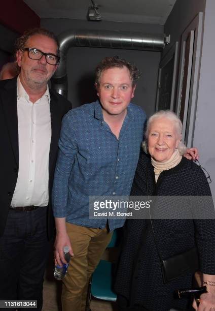 Henry Tomlinson Miles Jupp and Audrey Freeman attend the press night after party for 'The Life I Lead' at The Park Theatre on March 19 2019 in London...