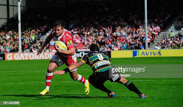 Henry Trinder of Gloucester in action during the Aviva Premiership match between Gloucester and Northampton Saints at Kingsholm Stadium on September...