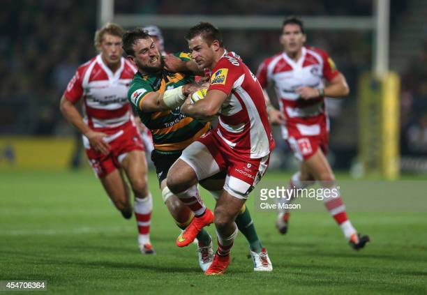 Henry Trinder of Gloucester in action during the Aviva Premiership match between Northampton Saints and Gloucester Rugby at Franklin's Gardens on...