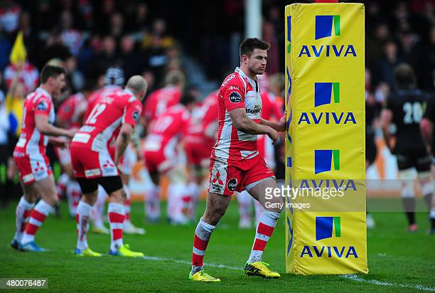 Henry Trinder of Gloucester looks on during the Aviva Premiership match between Gloucester and Newcastle Falcons at Kingsholm Stadium on March 22...