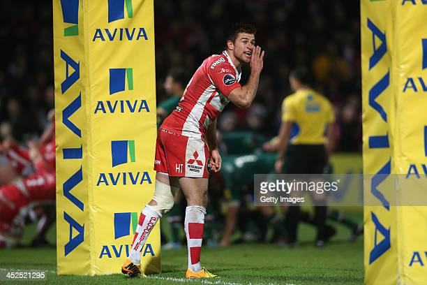 Henry Trinder of Gloucester shouts instructions during the Aviva Premiership match between Gloucester and Leicester Tigers at Kingsholm on November...