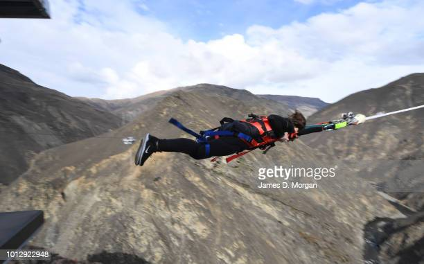 Henry van Asch cofounder of AJ Hackett Bungy New Zealand celebrates with Hamish Walker local member of parliament for CluthaSouthland after they...