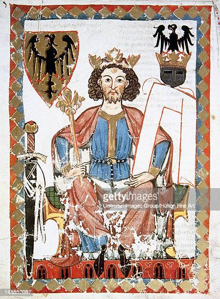 Henry VI Hohenstaufen King of Italy and Germany and emperor son of Frederick I Barbarossa The emperor with the arms of the Habsburg Empire Fol 6r...