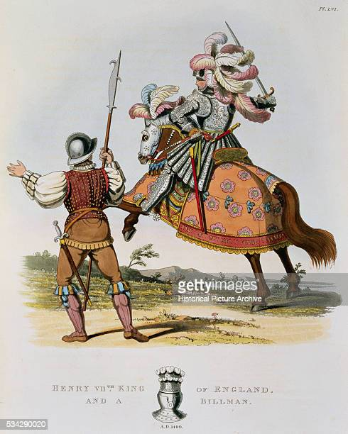Henry VII King of England and a Billman from Ancient Armour by Samuel Rush Meyrick