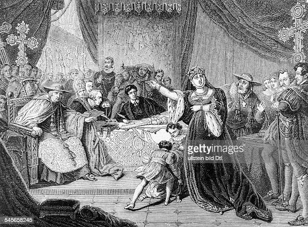 Henry VIII *14911547 King of England 15091547 His first wife Catherine of Aragon before the papal commision 1529 or the dicorce trial of 1533...