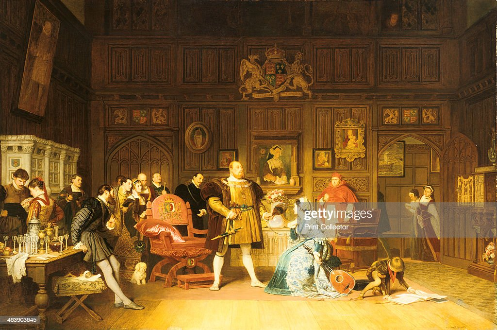 'Henry VIII and Anne Boleyn Observed by Queen Catherine', 1870. Painting by Marcus Stone (1840-1921), British history painter. Anne has been playing the lute for the king watched by a gathering of courtiers. The Queen, Catherine of Aragon, looks in on the scene from the doorway, while her portrait, hanging on wall behind Henry and Anne also 'observes' the goings on. Cardinal Wolsey, right of centre, looks on. The little dog, traditionally symbolising fidelity, is an ironic touch. From a private collection.