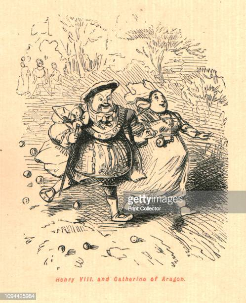 Henry VIII and Catherine of Aragon' 1897 A portly King Henry VIII and his first wife Catherine of Aragon running From 'The Comic History of England'...