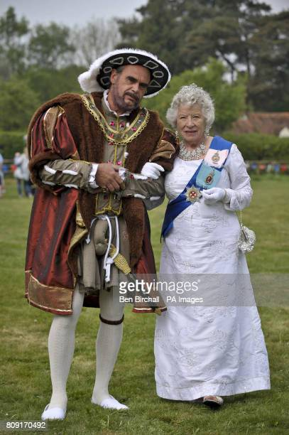 Henry VIII and Queen Elizabeth make an appearance on Chapel Row village green the home village of Kate Middleton near Bucklebury played by...