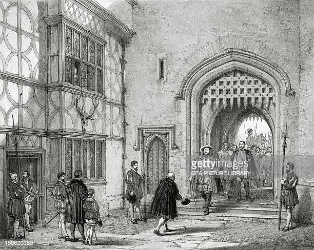 Henry VIII at Hever Castle in Kent by Joseph Nash of the Elder engraving from the Mansions of England in the olden time 18381849 Tudor age England...