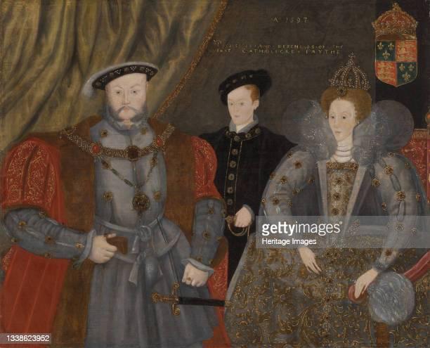 Henry VIII, Elizabeth I, and Edward VI, 1597. Artist Unknown.
