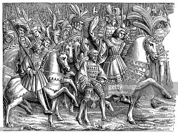 Henry VIII in the Field of the Cloth of Gold A wood engraving after basreliefs in the Hotel of the Bourg Herold Rouen Lavishly decorated tents were...