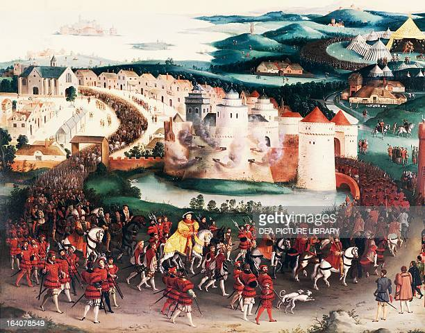 Henry VIII King of England entering to The Field of the Cloth of Gold to meet Francis I King of France 7th June 1520 oil on canvas by Friedrich...