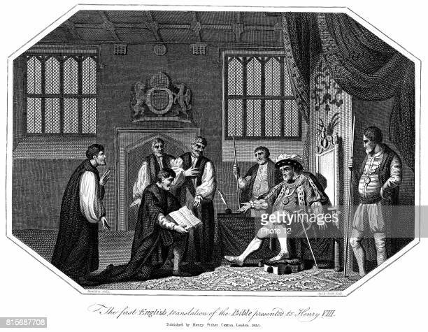 Henry VIII king of England from 1509 being presented with the first authorised edition of 'The Bible' in English Cranmer's Bible 1540 Copperplate...