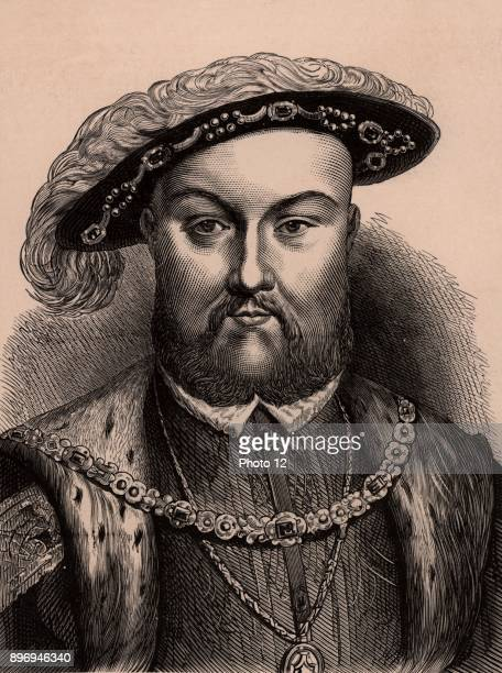Henry VIII king of England from 1509 Second monarch of the Tudor dynasty father of Edward VI Mary I and Elizabeth I Wood engraving c1900