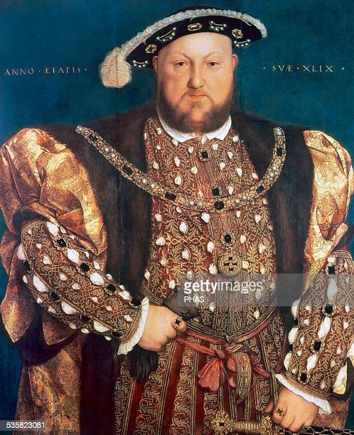 Henry VIII King of England from 15091547 Portrait by Hans Holbein the Younger Oil on panel 1540 The painting has the inscription 'Anno Aetatis suae...