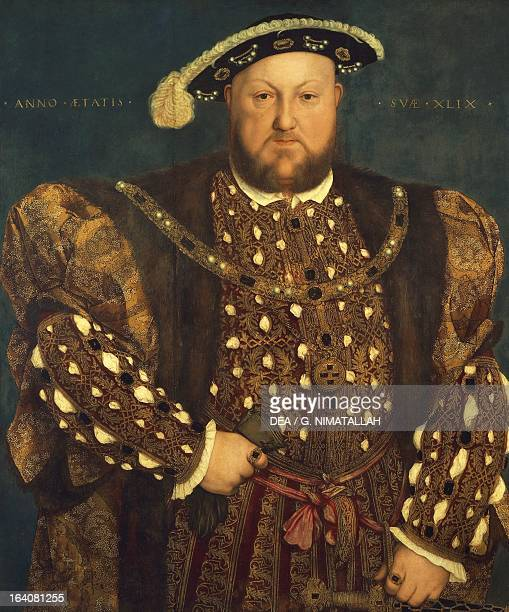 Henry VIII Tudor 15391541 King of England and King of Ireland with his family portrait wearing the outfit worn for his marriage to Anne of Cleves...