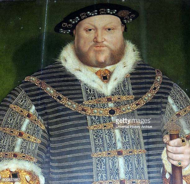 Henry VIII was king of England from 21 April 1509 until his death He was lord and later king of Ireland studio of Hans Holbein Warwick castle