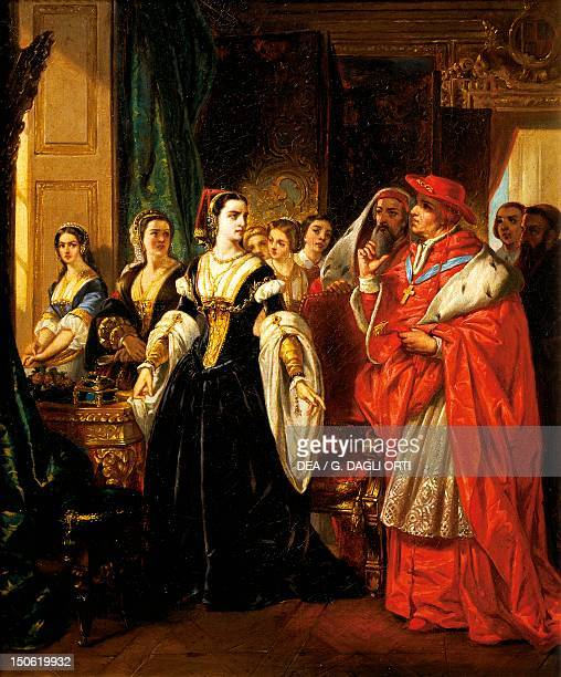 Henry VIII's divorce Cardinal Wolsey with Catherine of Aragon by Eugene Deveria oil on canvas Tudor England 16th century