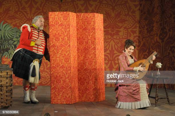 Henry Waddington as Sir John Falstaff and Mary Dunleavy as Alice Ford in Giuseppe Verdi's Falstaff directed by Bruno Ravella and conducted by Richard...