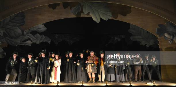 Henry Waddington as Sir John Falstaff with artists of the company in Giuseppe Verdi's Falstaff directed by Bruno Ravella and conducted by Richard...