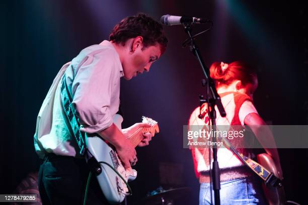 Henry Wade of The Orielles performs at Belgrave Music Hall on October 04, 2020 in Leeds, England.
