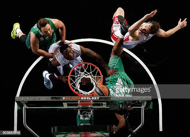 Henry Walker #12 of Cedevita Zagreb in action during the Turkish Airlines Euroleague Basketball Top 16 Round 2 game between Darussafaka Dogus...