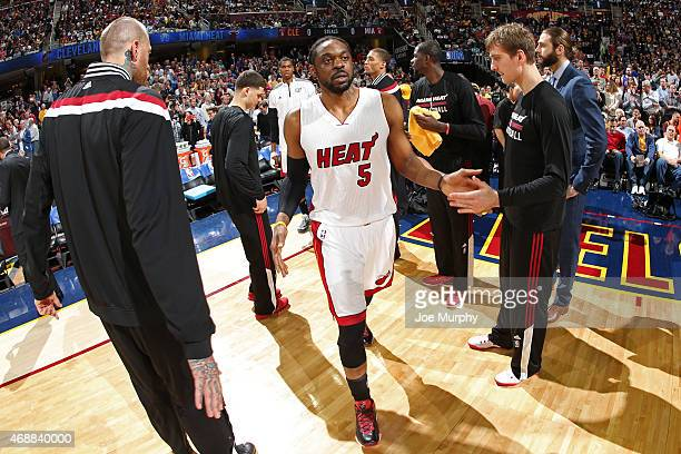 Henry Walker of the Miami Heat gets introduced before a game against the Cleveland Cavaliers on April 2 2015 at Quicken Loans Arena in Cleveland Ohio...
