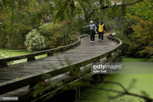 J Henry walks across a bridge to the 17th tee during Sanderson Farms Championship Round One on October 25 2018 in Jackson Mississippi