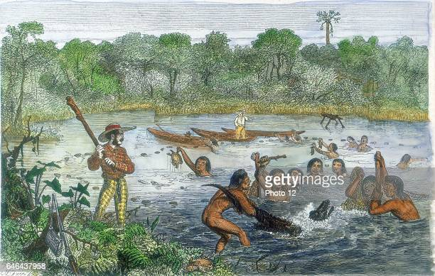 Henry Walter Bates English traveller and naturalist who with Alfred Russell Wallace explored the Amazon Bates with native help capturing an alligator...