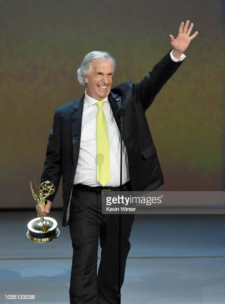 Henry Winkler accepts the Outstanding Supporting Actor in a Comedy Series award for 'Barry' onstage during the 70th Emmy Awards at Microsoft Theater...