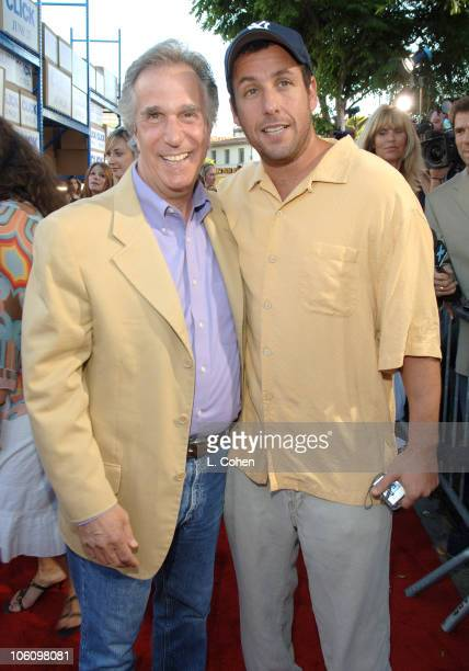 Henry Winkler and Adam Sandler during Click Los Angeles Premiere Red Carpet at Mann Village Theatre in Westwood California United States