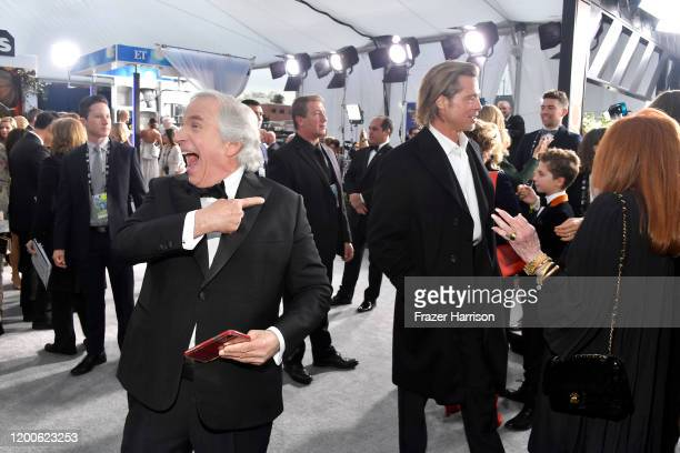 Henry Winkler and Brad Pitt attend the 26th Annual Screen ActorsGuild Awards at The Shrine Auditorium on January 19 2020 in Los Angeles California