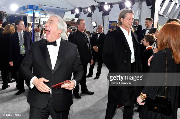 Henry Winkler and Brad Pitt attends the 26th Annual Screen ActorsGuild Awards at The Shrine Auditorium on January 19 2020 in Los Angeles California