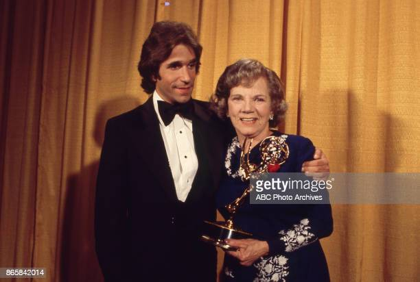 Henry Winkler and Ellen Corby in the press room at the 28th Annual Primetime Emmy Awards on May 17 1976 at The Shubert Theatre in Los Angeles...