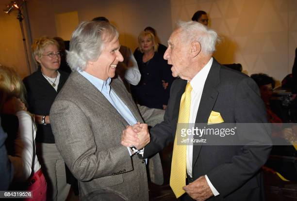 Henry Winkler and Mel Brooks at the LA Premiere of If You're Not In The Obit Eat Breakfast from HBO Documentaries on May 17 2017 in Beverly Hills...