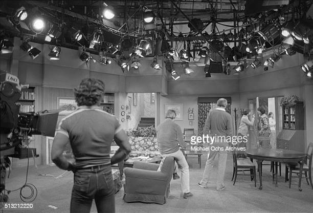 Henry Winkler and Scott Baio rehearse on the set of 'Happy Days' at Paramount Studios on March 5 1981 in Los Angeles California