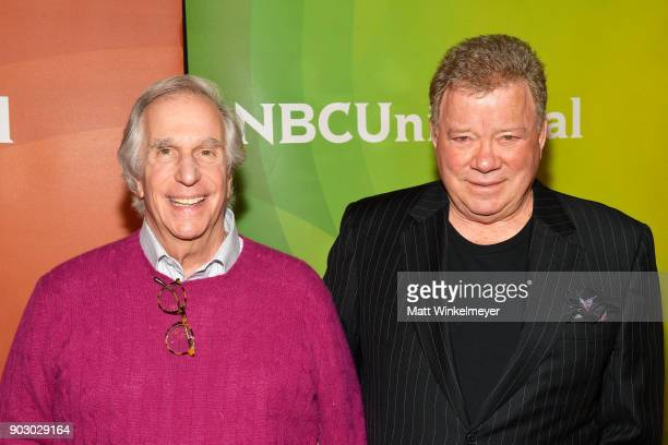 Henry Winkler and William Shatner attend the 2018 NBCUniversal Winter Press Tour at The Langham Huntington Pasadena on January 9 2018 in Pasadena...
