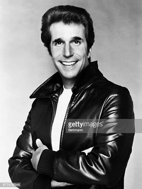 Henry Winkler in a leather jacket posing