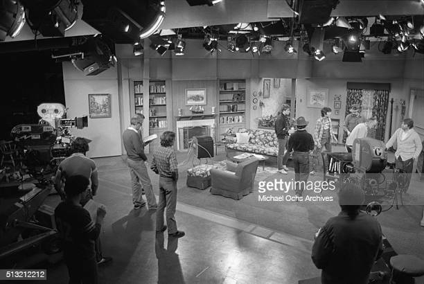 Henry Winkler Scott Baio and Ted McGinley rehearse on the set of 'Happy Days' at Paramount Studios on March 5 1981 in Los Angeles California
