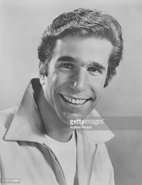 Henry Winkler US actor smiling and wearing a zipup jacket with the collar up USA circa 1975