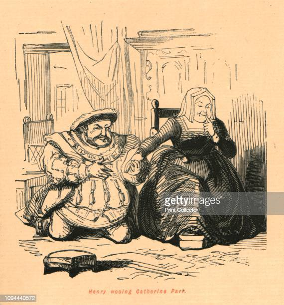 Henry wooing Catherine Parr' 1897 An obese King Henry VIII kneels and takes the hand of Catherine Parr From 'The Comic History of England' by Gilbert...