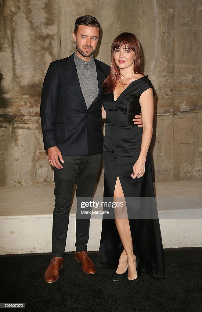 Henry Zalapa and Emma Lung arrive ahead of the Myer AW16 Fashion Launch on February 11, 2016 in Sydney, Australia.