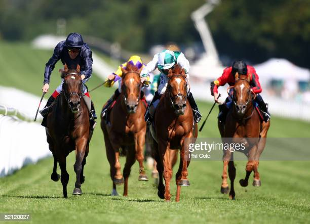 Henrythenavigator ridden by Johnny Murtagh on the left wins the BGC Sussex Stakes run at Goodwood Racecourse on July 30 in Goodwood England Today is...